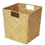 Yarnow 1 pieza delicada cesta de almacenamiento tejida caja de almacenamiento de ropa de mimbre con asa cesta organizadora tejida a mano para el baño del hogar cocina 9. 8x8. 6x9. 8