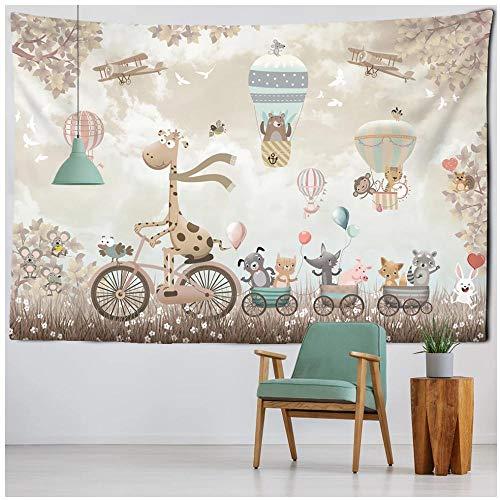 Bonito Tapiz de Animales de Dibujos Animados, Tapiz nórdico para Colgar en la Pared, Alfombra de Oso Kawaii, paño de Pared, decoración de habitación para niños, 150x150cm