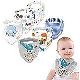 6 Pack Baby Dreieckstuch Babylätzchen Baumwolle Bandanas Einstellbar Spucktuch Super Saugfähig Halstücher 0-36 Monate