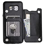 S8 Plus Case Wallet with Card Holder, Vaburs Premium PU Leather Double Magnetic Buttons Flip Shockproof Protective Cover for Samsung Galaxy S8 Plus(Black)