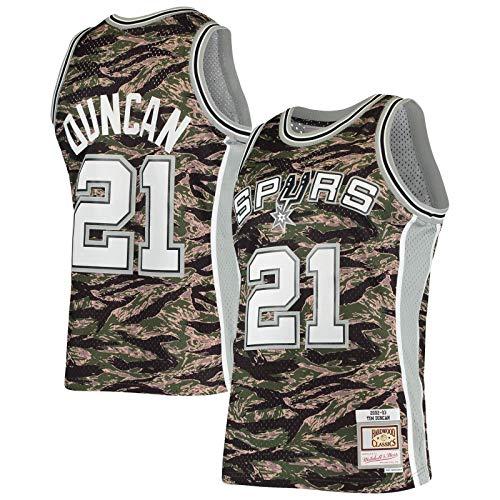 HFHDF Tim Clothing Duncan Custom San Basketball Jersey Antonio Traning Jersey Spurs #21 Hardwood Classics Tiger Swingman Jersey Camo - Icono Edition-L