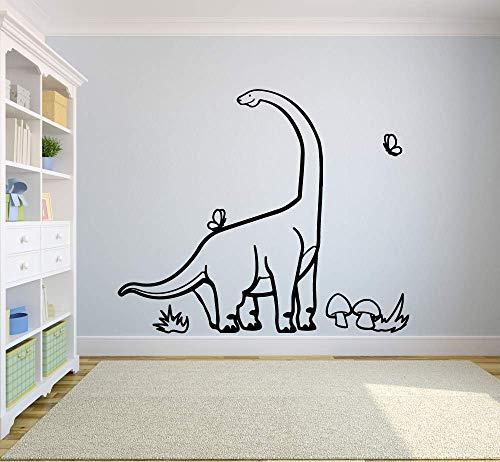 Calcomanías de dinosaurios para pared en cuello largo, niños, niños, dormitorio, guardería, área de juegos, decoración de interiores, vinilo, pegatinas para ventanas, papel tapiz creativo