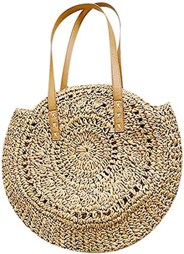 Bolso moderno de paja para mujer, bolso de playa, bolso de hombro, para ir de compras al aire libre, viajes y camping.