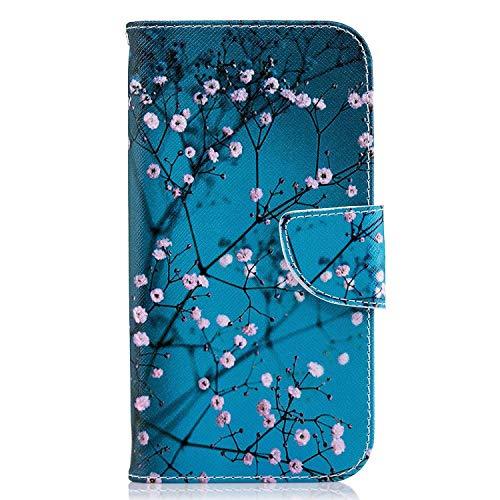 Uposao Kompatibel mit Handyhülle Huawei P Smart Handytasche Bookstyle Klappbar Flip Case Tasche Brieftasche Lederhülle Leder Handy Schutzhülle Wallet Cover mit Magnetverschluss,Rosa Blumen Baum