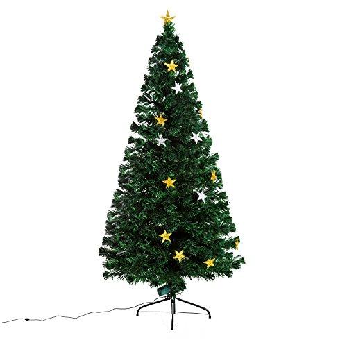 homcom Albero di Natale Artificiale in Fibra Ottica Abete con 28 luci LED a Forma di Stella Altezza 180 cm foltissimo