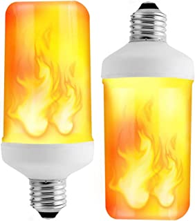 Prosperbiz Flame Bulbs, E26 Flickering Flame Effect Fire Light Bulbs with Upside Down Effect, Flame Bulb for Halloween Home/Hotel/Bar Party Decoration(2 Pack)