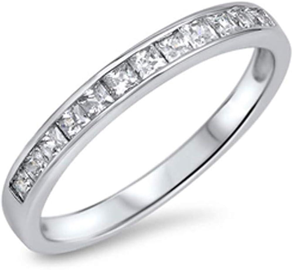 Tampa Mall Precious Gem Jewellers Sterling Eternity Dedication Princess-Cu Semi Silver