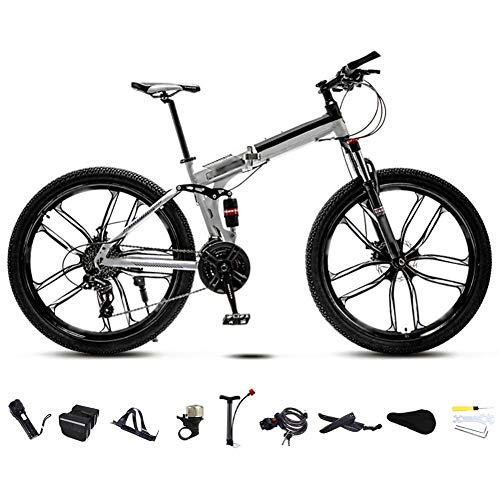 Hochwertiges Fahrrad 24-26 Zoll MTB Fahrrad, Unisex Folding Pendler Fahrrad, 30-Gang Getriebe Faltbare Mountainbike, Off-Road Variable Speed Bikes for Männer und Frauen, Doppelscheibenbremse/weiß