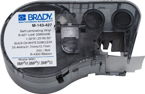 Brady Self-Laminating Vinyl Label Tape (M-143-427) - Black on White, Translucent Tape - Compatible with BMP41, BMP51, and BMP53 Label Makers - 1.25 Height, 1 Width, Black on White/Semiclear