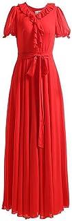 WYYY ドレス 夏の季節 ロングスカート 半袖 V襟 フラッシング プリーツ レッド セレブリティ シフォンドレス ビーチスカート (サイズ さいず : L l)