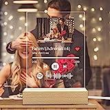 Spotify Music Code Luce Notturna Personalizzato Foto & Nome del Musica & Nome del Cantante, Spotify Glass Art Lampada Musica Placca Foto Album Copertina, Regali per Fidanzato, Fidanzata, Papà e Mamma