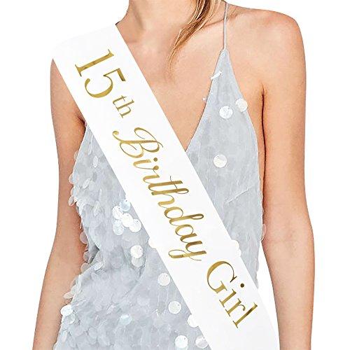 ADBetty15th Birthday Girl Sash - 15th Birthday Sash Birthday Girl Sash Birthday Party Favours, Supplies and Decorations