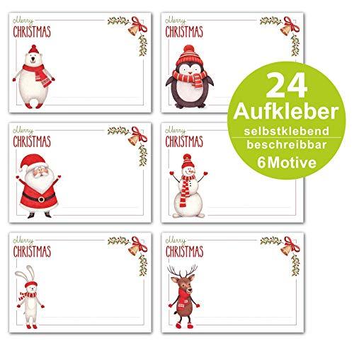 ArtUp.de 24 Stück Aufkleber Weihnachten Geschenkaufkleber selbstklebend zum Beschreiben - 6 weihnachtliche Motive - ca. 7 x 5 cm - Sticker für tolle Geschenke und selbstgebastelte Adventskalender