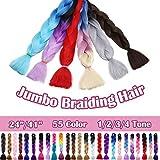 SEGO 24 Inch Jumbo Braiding Hair Jumbo Braid Hair Extensions Long Jumbo Braids for Box Braids Crochet Hair High Temperature Synthetic Fiber Single Color Red 1 Bundle