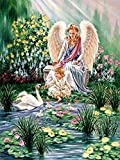 NineHorse 5D Diamond Painting Beautiful Angel, Full Drill Crystal Rhinestone Embroidery Set Adult DIY Diamond Painting Crafts, Beautiful Home Decor (11.8x15.7 Inches)