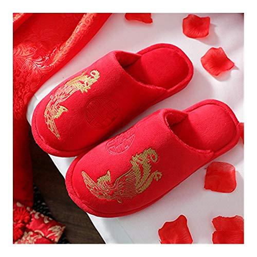 YXCUIDP Hombres y zapatillas de las mujeres chinas, zapatillas rojas de la...