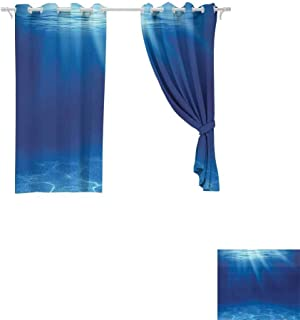 DONEECKL Sliding Curtains Ocean Decor Collection Deep Sea Underwater with Pebbly Sandy Mixed Bottom Surface and Sun Beams Coming from Surface Picture Noise Reducing W55 x L39 inch Navy