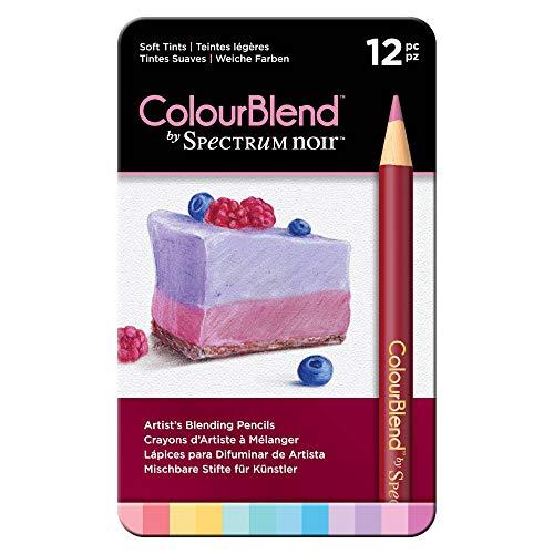 Spectrum Noir Jeu de 24 Crayons de Couleur Blend, Bois Dense, Soft Tints, 19 x 12 x 1.5 cm