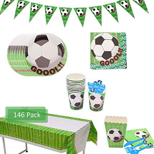 Amycute 146 Piezas Vajilla de Fútbol Cumpleaños Adulto, Vajilla Diseño Fútbol Verde Desechable Vasos, Platos, Servilletas, para Temas de Fútbol Cumpleaños (20 Invitados)