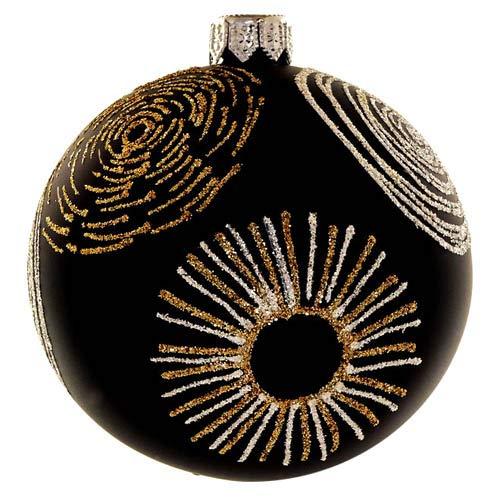 Kaheku Weihnachts-Baumkugel Noam Glas schwarz-Gold matt d10 cm