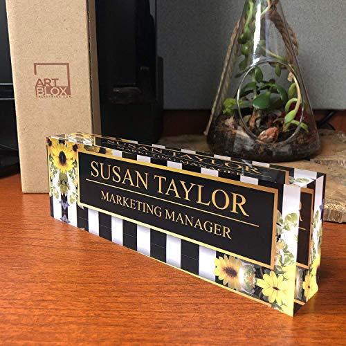 "Artblox Office Desk Name Plate Personalized | Custom Name Plates for Desks on Acrylic Glass Decor | Office Desk Decor Nameplate | Desk Accessories | Sunflowers Design - (8""x2.5"")"