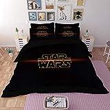 Bedding Set Juegos de Fundas 3D Star Wars Que Imprime 3 Piezas Juego De Cama 100% Microfibra para Regalos (1 Funda Nórdica + 2 Fundas) F-Full(200x229cm)