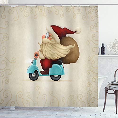 ABAKUHAUS Weihnachten Duschvorhang, Sankt auf Motorrad, Trendiger Druck Stoff mit 12 Ringen Farbfest Bakterie und Wasser Abweichent, 175 x 200 cm, Red Tan Pale Blue