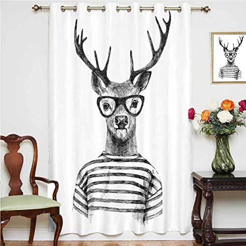 Cortina opaca de ciervo con cabeza de reno y estilo hipster humano con gafas, cortinas estampadas, panel individual de 160 x 213 cm, para puerta de vidrio, gris y blanco