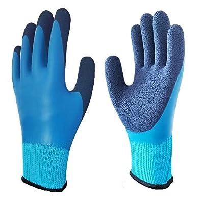 2 Pairs Waterproof Thermal Winter Work Gloves Polar Fleece Liner Superior Grip Double Latex Coating Gloves(Large-2PACK)