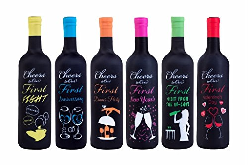 Tipsy Toasts: The Original First Year of Marriage Milestones Wine Bottle Covers - Bridal Gift - 6 Pack