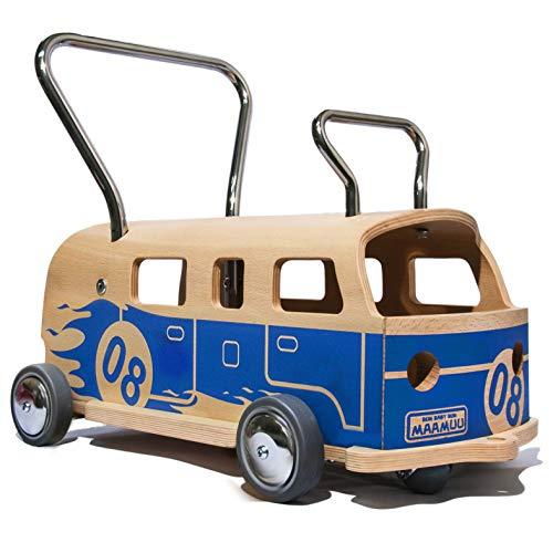 3 en 1 Andador + furgoneta + correpasillo Baloss 8 de madera azul, Made in Italy