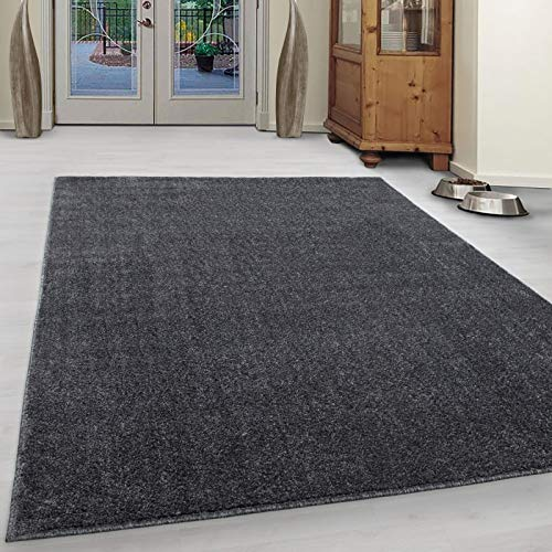Wohnzimmer Teppich Kurzflor Modern Einfarbig Meliert Uni günstig Versch. Farben - Grau, 160x230 cm