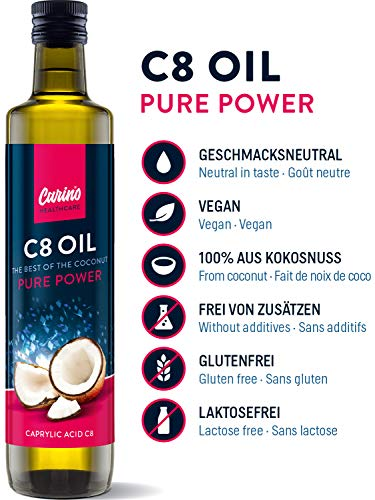 C8 MCT Oil from 100% Coconut Oil Pure caprylic Acid 500ml - for Bulletproof Coffee or for ketogenic Nutrition