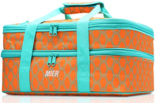 MIER Insulated Double Casserole Carrier Thermal Lunch Tote for Potluck...