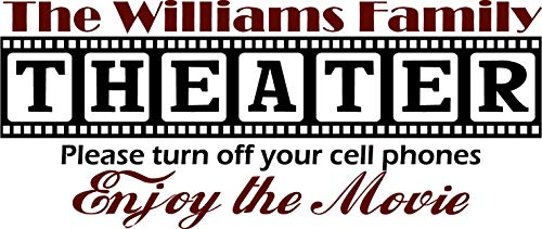 "Walls with Style Theater Decal, Personalized with Your Last Name, (Large 40"" Long by 17"" Tall, Black with Burgundy)"