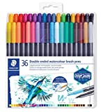 Staedtler Watercolour Brush Pens 3001 TB36, Rotulador de Doble Punta de Fibra Acuarelable, 36 unidades, Multicolor