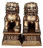 WQQLQX Statue EIN Paar Peking Löwen Segen Hund Statuen Harz Skulptur Handwerk Feng Shui Ornamente Büro Home Decoration Geschenke Glückliche Figuren Skulpturen