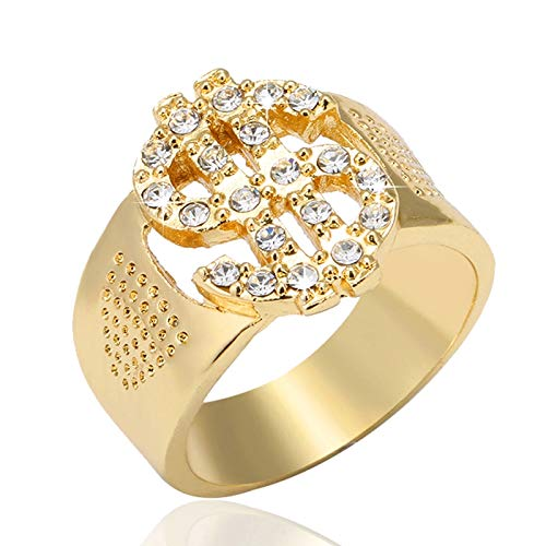 Qazwsxedc Für Sie HYF Felsen Bling Gold US Dollar-Zeichen-Signets Ringe for Männer Schmuck, Ring-Größe: 9 (Gold) (Farbe : Gold)