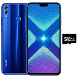 Honor 8X (64GB, 4GB RAM) 6.5' HD, Dual SIM GSM Factory Unlocked Smartphone - US + Global 4G LTE International Version JSN-L23 (Blue)