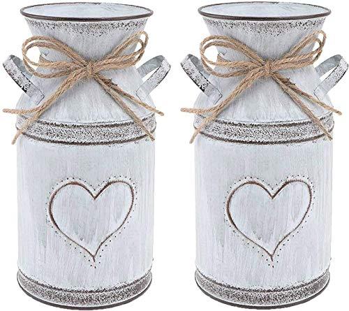 Juego de 2 jarrones de metal con forma de corazón para decoración del hogar.
