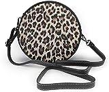 Bandolera redonda de piel sintética con estampado de leopardo, para mujeres y niñas, color, talla Talla única