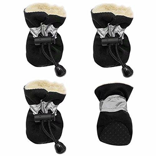 Creatwls Hund Schuhe Stiefel für Kleine und Mittelgroße Hunde, Warm Paw Displayschutzfolie mit Anti-Skid Weiche Gummisohle Innen Pet Hund Schuhe