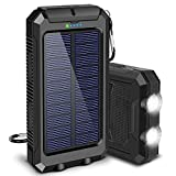 Solar Charger, 20000mAh Solar Power Bank for Camping Outdoor, with 2 Led Flashlight and 2 USB Output Ports, Portable Solar Battery...