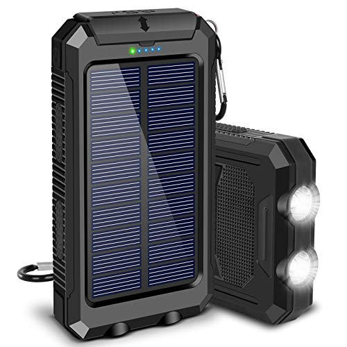 Solar Charger, 20000mAh Solar Power Bank for Camping Outdoor, with 2 Led Flashlight and 2 USB Output...