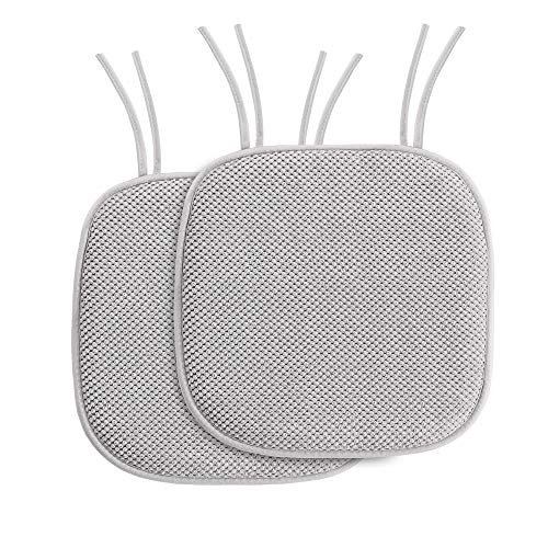 H.VERSAILTEX Chair Cushion Memory Foam Chair Pads with Ties Honeycomb Pattern Nonslip Rubber Back Rounded Square 16' x 16' Dining Chair Seat Cover (2 Pack, Gray)