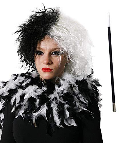 I LOVE FANCY DRESS LTD Conjunto DE Disfraces Cruella Mujer Malvada del Perro Peluca Blanca Negra + Boquilla Falsa + Boa DE Plumas Blanco Negro - Traje DE Personaje DE PELÍCULA Malvada