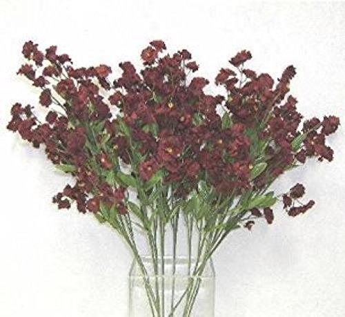12 Baby'S Breath Spray Wine Burgundy Gypsophila Silk Wedding Flowers Centerpiece