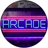 Arcade Game Zone Room Dual Color LED Neon Sign Red & Blue 12
