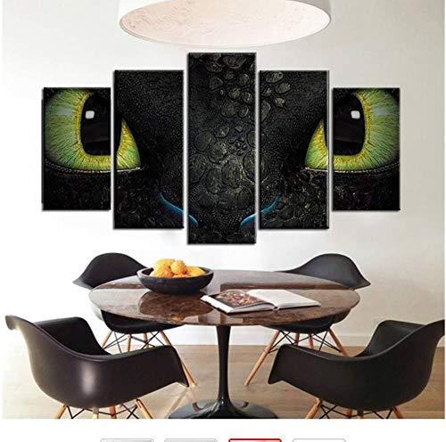 xwpox 5 wandafbeeldingen 5 stuks draken muurschildering canvas kunst tandloos poster canvas kunst woonkamer wanddecoratie oliespray schilderij op canvas creatieve wandafbeelding, canvas wandafbeelding, decoratie