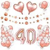 40er Cumpleaños Globos, Decoración de Cumpleaños 40 en Oro Rosa, Cumpleaños 40 Año, Feliz Cumpleaños Decoración Globos 40 Años, Decoracion Cumpleaños para Niñas y Mujeres